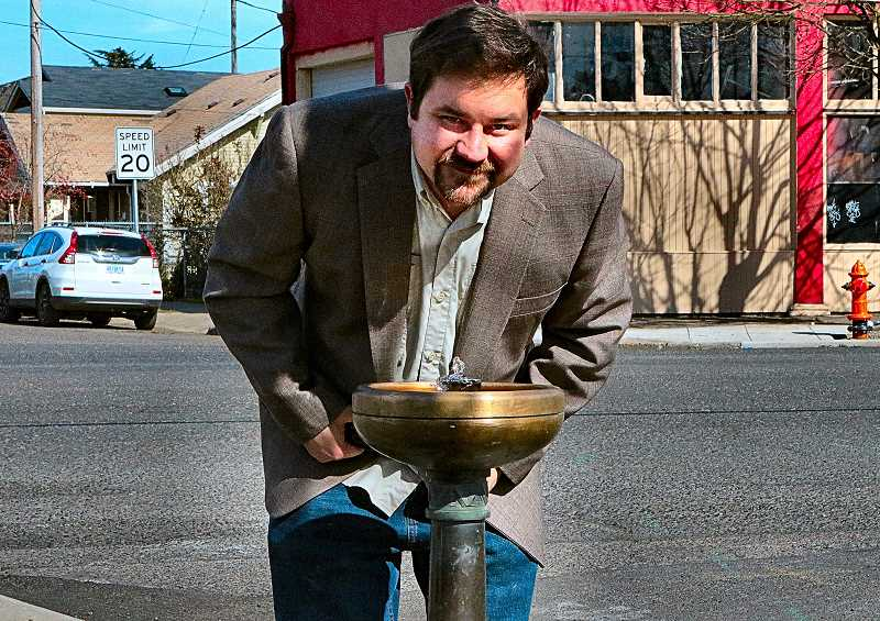 DAVID F. ASHTON -  Minutes after the replacement Benson Bubbler fountain was installed and turned on, life-long area resident Jacob Dean stopped for a drink on S.E. Foster Road.