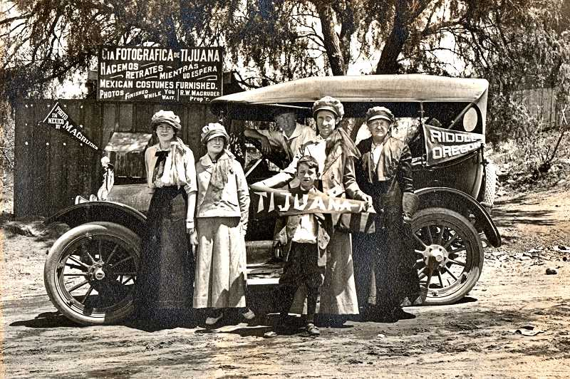 COURTESY OF CECE CUTSFORTH - On the summer break trip to the Pan American Exposition in San Francisco and San Diego California in 1915. Margaret Crosby (Cutsforth) is the woman at far left. The souvenir photo was taken when the travelers crossed the Mexican border into Tijuana. The trip from Riddle, Oregon, to the Mexican border and back took them over a month.