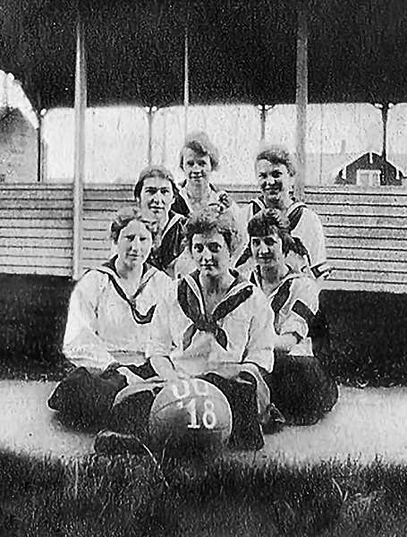 COURTESY OF THE CUTSFORTH FAMILY - In 1913 the Womens Athletic Association was formed at the University of Oregon to encourage young ladies entering college to enroll in one of the sports programs. Women could try out for basketball, tennis, track, field hockey and indoor baseball. Still, only six ladies are pictured here on the basketball team in 1918 - one of them Margaret. The sailors collar blouses and long pleated shirts, with black stockings, were the standard ladies uniform in all sports.