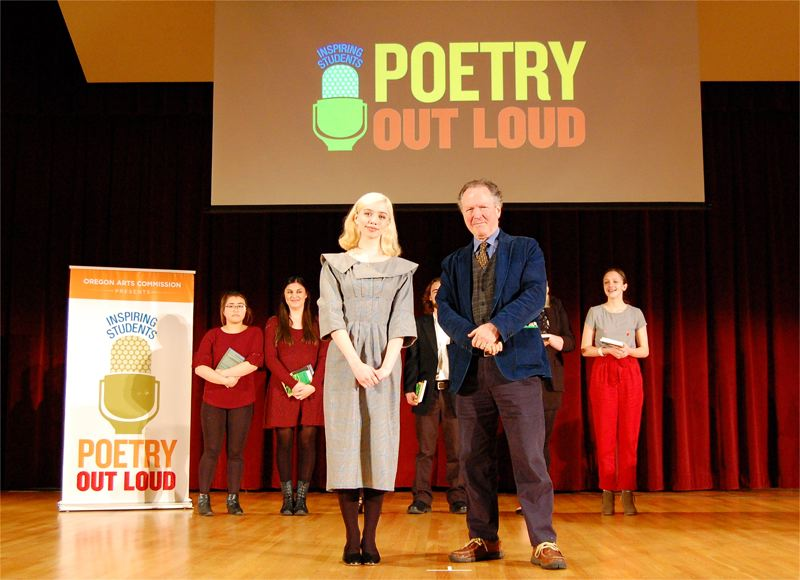 COURTESY PHOTO: BRIANA LINDEN - Christina Brennan, 17, as one of nine finalists to be honored, met with Oregon Poet Laureate Kim Stafford at the event.