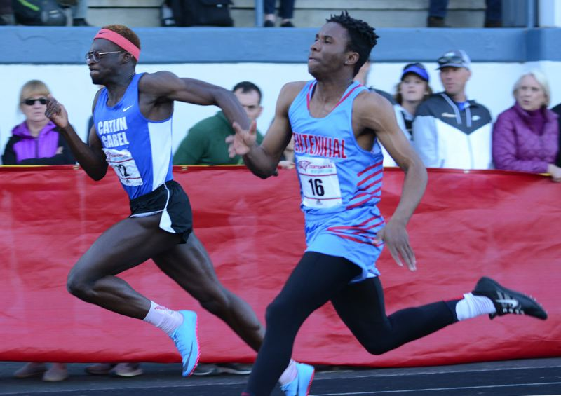 PMG PHOTO: DAVID BALL - Centennial sprinter Jimmie Barton is back after placing third in the 100-meter dash at state last year.
