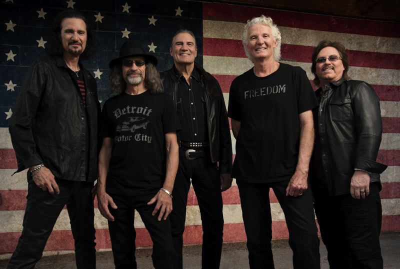 COURTESY: ALLEN CLARK - Grand Funk Railroad, which gave us the great 'We're An American Band,' comes to Oregon to play Chinook Winds Casino in Lincoln City, March 29-30. They are (from left) Bruce Kulick, Mel Schacher, Max Carl, Don Brewer and Tom Cashion.