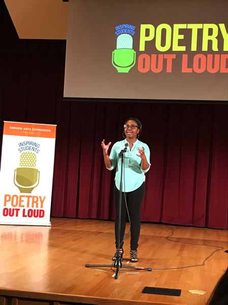 COURTESY PHOTO - Belise Nishimwe, the 2019 Poetry Out Loud champion from Portland, emphasizes social justice and immigration in her words.