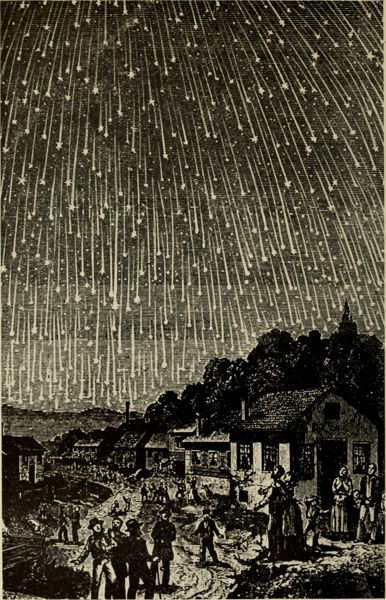 COURTESY PHOTO - The Mt. Hood Community College Planetarium will examine sky phenomena April 2 and 5; this is a woodcut image of the 1833 Leonid meteor shower.