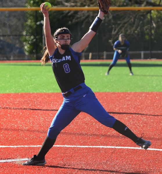 PMG PHOTO: DAVID BALL - Gresham pitcher Alise Olson winds up for a throw on her way to a one-hitter.