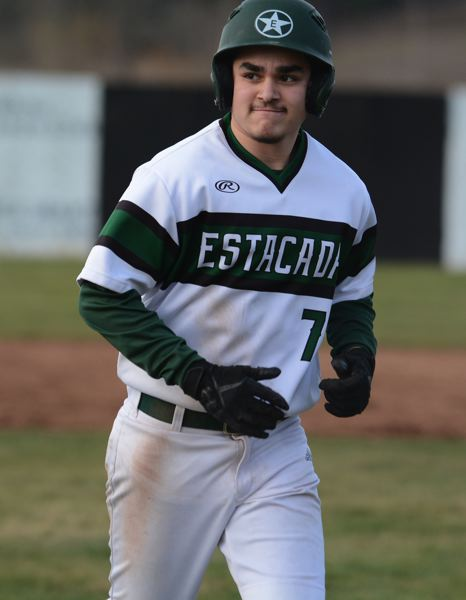 PMG PHOTO: DAVID BALL - Estacadas Jose Vasquez came up with the winning two-run double in the sixth inning.