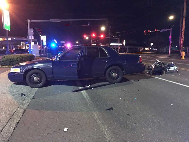 COURTESY PHOTO: GRESHAM POLICE DEPARTMENT - A motorcyclist died Saturday night, March 16, after a collision near Northeast Division Street and Northeast Hogan Drive.