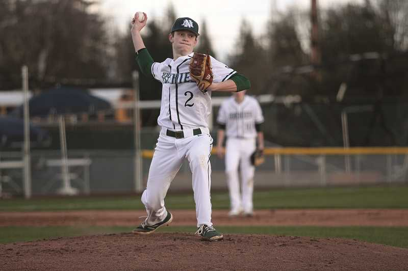 PMG PHOTO: PHIL HAWKINS - Junior Brady Hansen got the start in the Huskies 11-4 win over Sweet Home, striking out three and giving up one unearned run in four innings of work.
