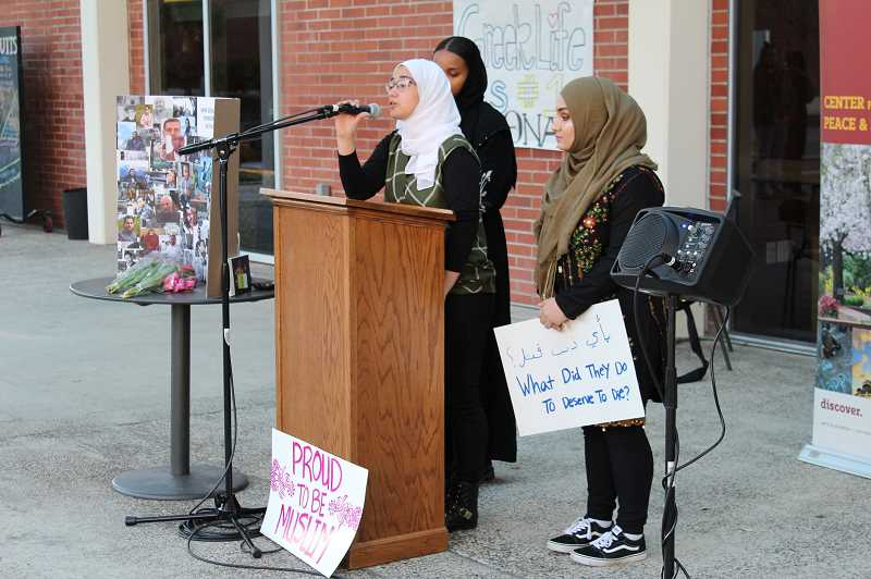PMG PHOTO: JANAE EASLON - Members of the Muslim Student Association spoke at the Christchurch shooting vigil on Monday, March 18 at Pacific University.