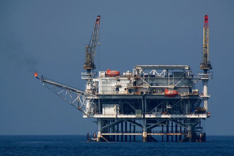 FILE PHOTO - An offshore oil rig is seen in the Catalina Channel  near Long Beach, California.