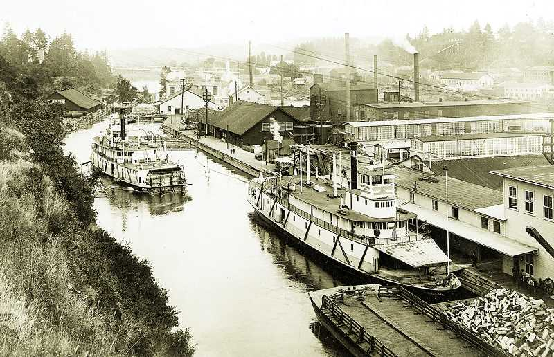 PHOTO COURTESY OF OREGON HISTORICAL SOCIETY - A historical photo shows a time when steamboats plied the Willamette River, reaching upriver via the locks in Oregon City to landings in Newberg and other towns.