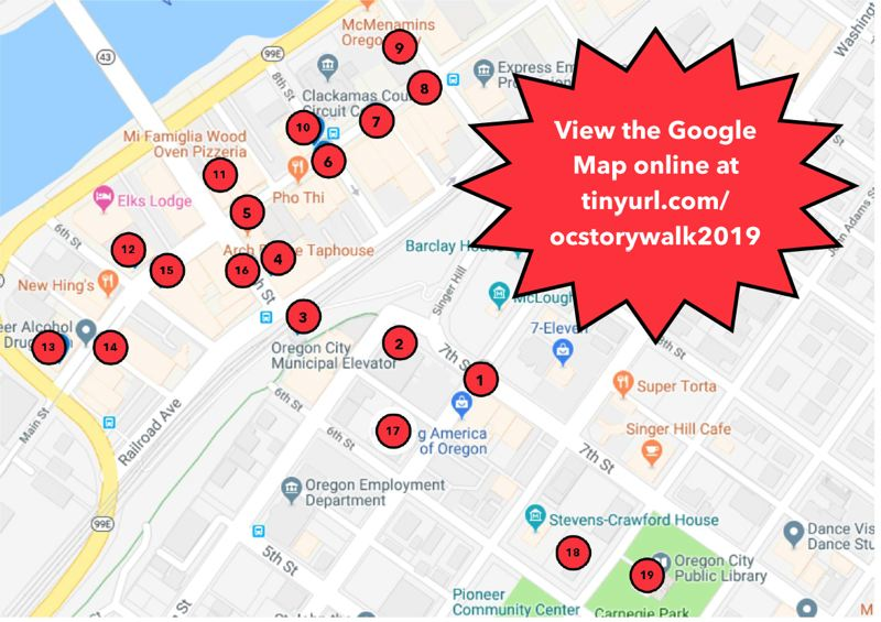 COURTESY PHOTO - A map of the 19 locations participating in the Oregon City Library's 'Where the Wild Things Are' Storywalk.