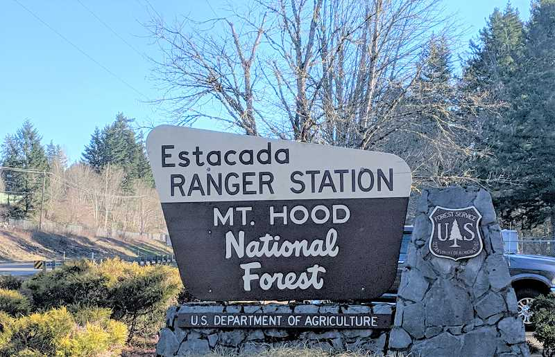 PMG PHOTO: EMILY LINDSTRAND - A sign welcomes visitors to the Clackamas River Ranger District office in Estacada. In early 2020, district staff will relocate to Sandy.