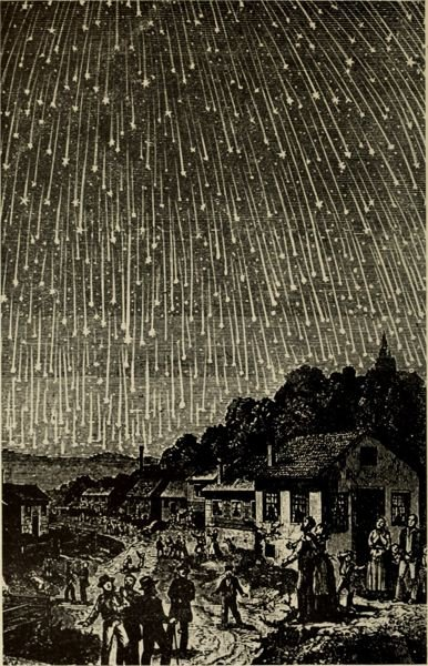 COURTESY PHOTO: WIKIPEDIA COMMONS - Here is a woodcut image of the 1833 Leonid meteor shower. The MHCC planetarium will explore such phenomena in its upcoming presentations in early April.