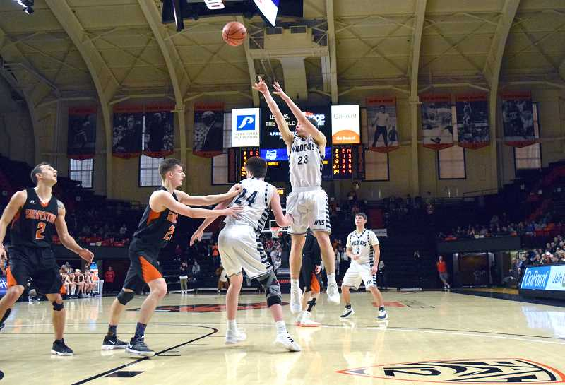 PMG FILE PHOTO: TANNER RUSS - Senior Sam Westing shoots the jumper against Silverton in the state semifinals, one of the Wildcats toughest tests.