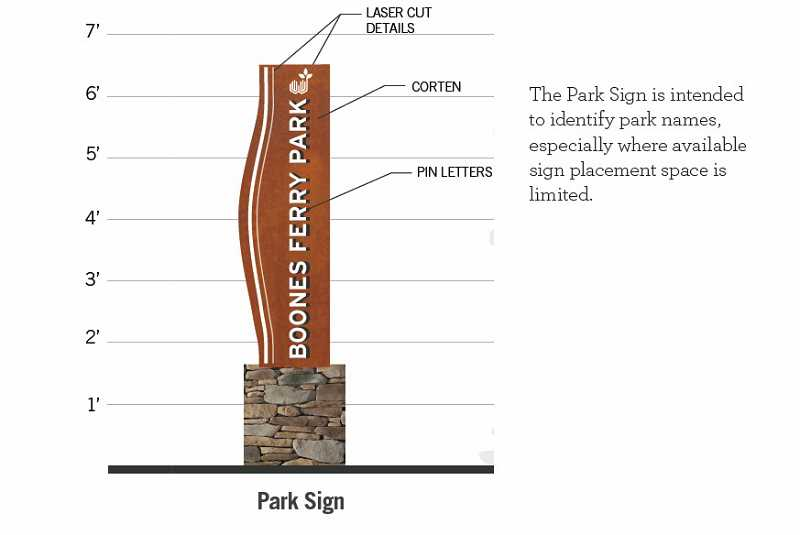 COURTESY PHOTO - The new signage and wayfinding designs were inspired by the Willamette River.
