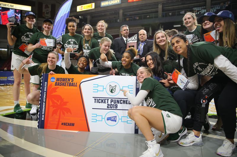COURTESY: SCOTT LARSON - The Portland State Vikings celebrated a Big Sky tournament title at Boise, Idaho, after winning the championship game against Eastern Washington.