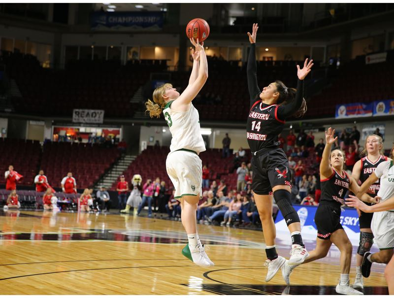 COURTESY: SCOTT LARSON - Desirae Hansen hits the winning shot with three seconds left in the Big Sky championship game against Eastern Washington.