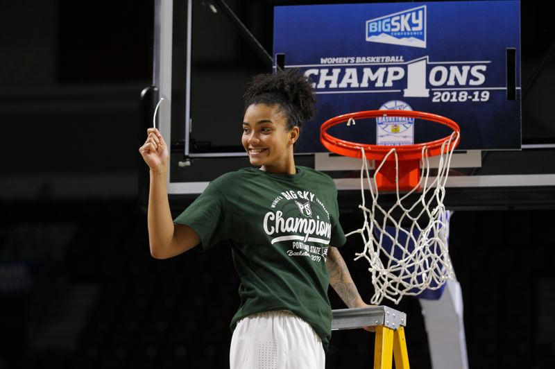 COURTESY: SCOTT LARSON - Senior guard Ashley Bolston helps to cut down the net after earning Big Sky tournament MVP honors for Portland State last week at Boise, Idaho.