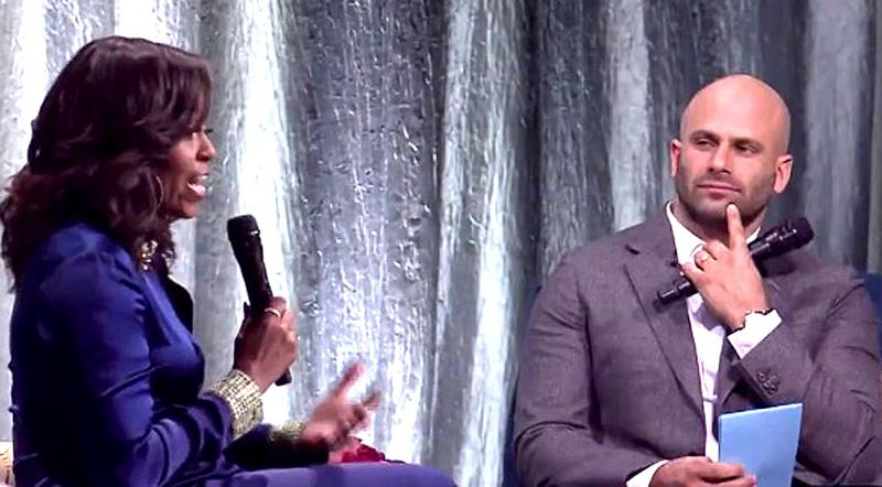 COURTESY PHOTO: KOIN 6 NEWS - Former First Lady Michelle Obama talked for about 80 minutes at the Moda Center with former White House staffer Sam Kass during her national tour promoting 'Becoming.'