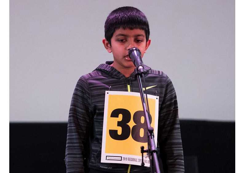 PMG PHOTO: JAIME VALDEZ - Arush Goswami, a fifth-grader at at Three Rivers Charter School and resident of Wilsonville, progressed to the final round of eight contestants at the Regional Spelling Bee.