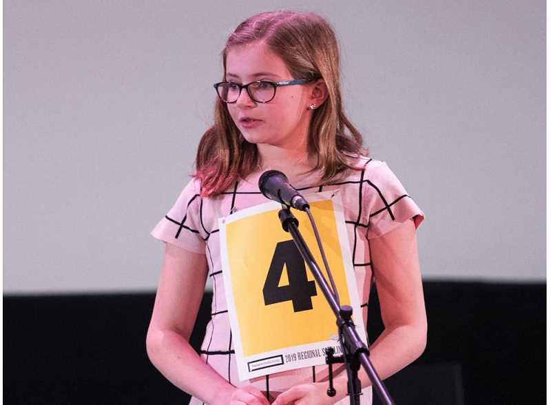 PMG PHOTO: JAIME VALDEZ - Boones Ferry Primary fifth-grader Annika Martin advanced to the round of eight at the Regional Spelling Bee.