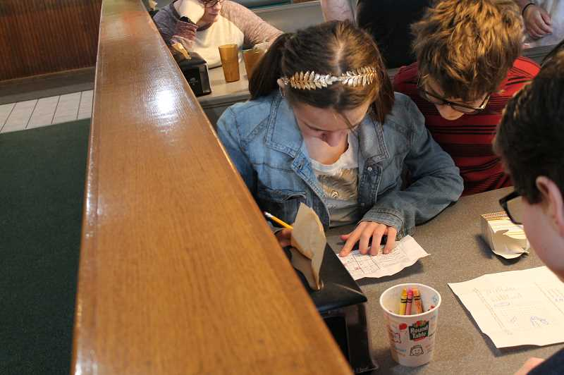 PMG PHOTO: HOLLY BARTHOLOMEW - Oregon Connections Academy students gathered at Round Table Pizza in West Linn to celebrate Pi day.