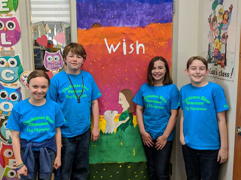 PMG PHOTO: EMILY LINDSTRAND - Clackamas River Elementary Schools Oregon Battle of the Books team consisted of Sophia Montez, Ethan Stalcup, Cannon Shearer and Ella Mallett.