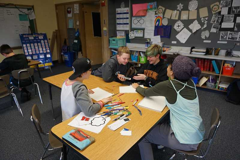 PMG PHOTO: CLAIRE HOLLEY - Students in the Unified Club play games and enjoy their time during Tuesdays meeting.
