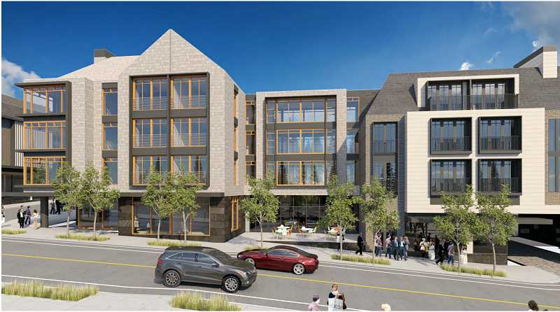 COURTESY PHOTO: CITY OF LAKE OSWEGO - Two design styles emulating Lake Oswego's architectural language are blended in the larger building between First and State Streets.