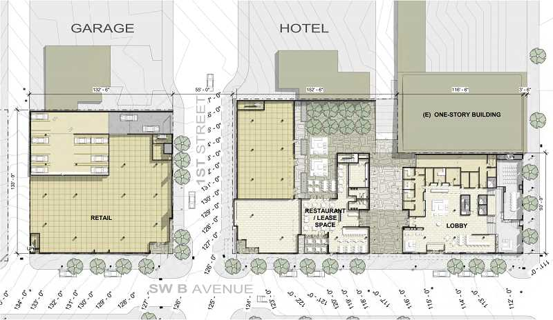 COURTESY PHOTO: CITY OF LAKE OSWEGO - A cross section of the building shows how the main level of both the parking/retail and hotel/restaurant buildings could be organized.