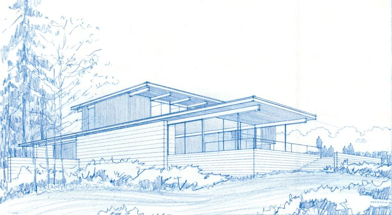 COURTESY: RICK POTESTIO - A rendering by architect Rick Potestio for a lot at Deer Hill. He says the basic style of the Deer Hill community will be a northwest version of the Case Study Houses Built in Los Angeles, sponsored by Arts & Architecture magazine and designed between the 1940s and 1960s.