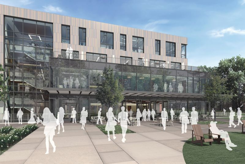 COURTESY: OFFICE 52 ARCHITECTURE - The 64,000-square-foot Willie and Donald Tykeson Hall, currently under construction in the historic district of the University of Oregons Eugene campus, will create a center where students can connect with advisory and career services.