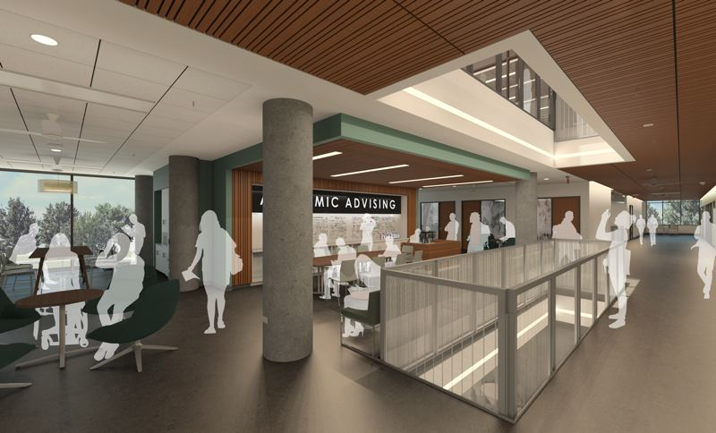 COURTESY: OFFICE 52 ARCHITECTURE - The upper central floors of Tykeson Hall will contain counseling and advisory services while the lower floor will feature The Commons, an event area that will open onto an exterior green space.