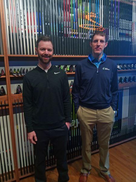 PMG PHOTO: SCOTT KEITH - Master fitters and builders Jordan Cooper, left, and Connor Griess are ready to help golfers in Tigard.