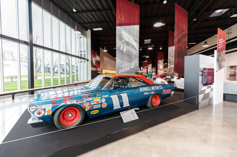 COURTESY WOS - A replica of the 1967 Ford Fairlane Stock Car that won the Daytona 500 and was destroyed in a fire.