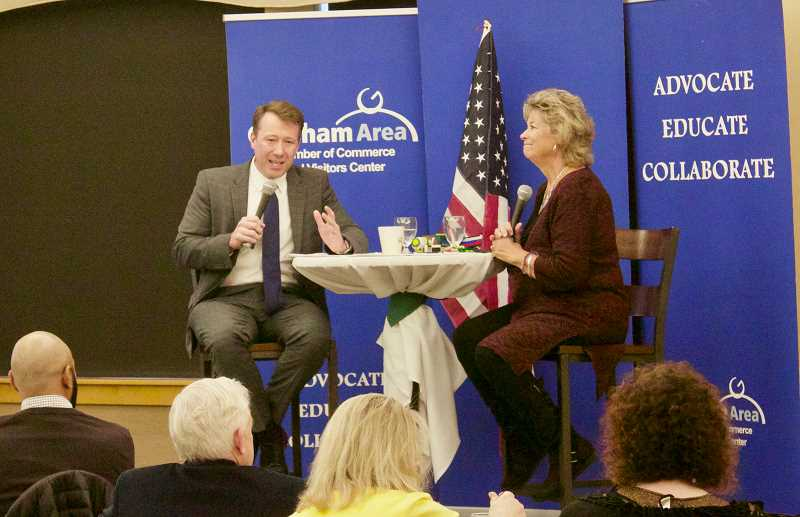 PMG PHOTO: CHRISTOPHER KEIZUR - Gresham Mayor Shane Bemis sat down for a question session with Chamber CEO Lynn Snodgrass Tuesday afternoon, March 19.