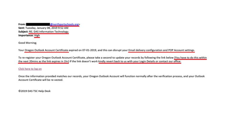 PMG PHOTO - A screenshot shows the phishing email sent to hundreds of state employees.