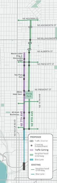 COURTESY PBOT - The full route for the Lloyd to Woodlawn project is shown here.