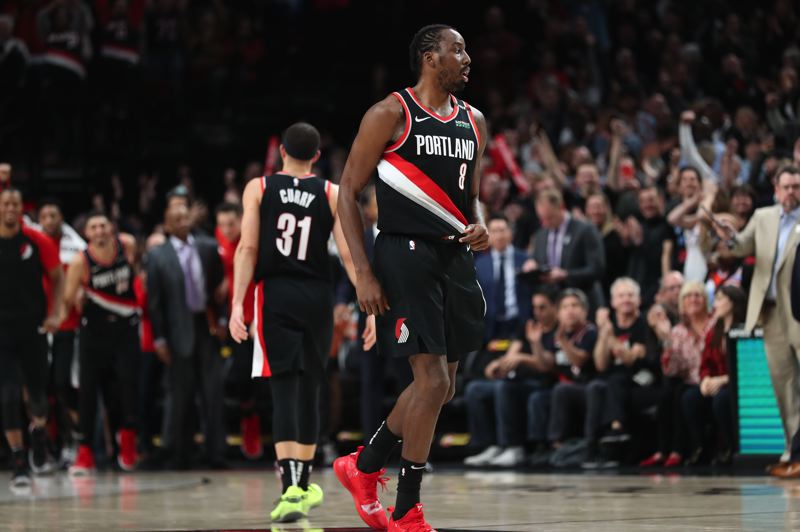 PMG PHOTO: JAIME VALDEZ - Al-Farouq Aminu hears the crowd roar at Moda Center as the Trail Blazers make the final surge to defeat the Detroit Pistons on Saturday night.