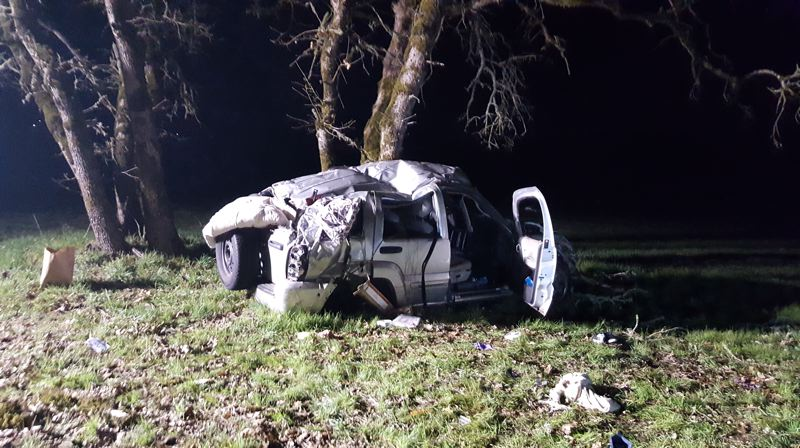 COURTESY PHOTO: OREGON STATE POLICE - One person died and two others were injured in a single vehicle crash on Thursday, March 21, near Jefferson. The occupants of the vehicle were suspects in several armed robberies and the driver attempted to elude police before the crash occured, according to Oregon State Police.