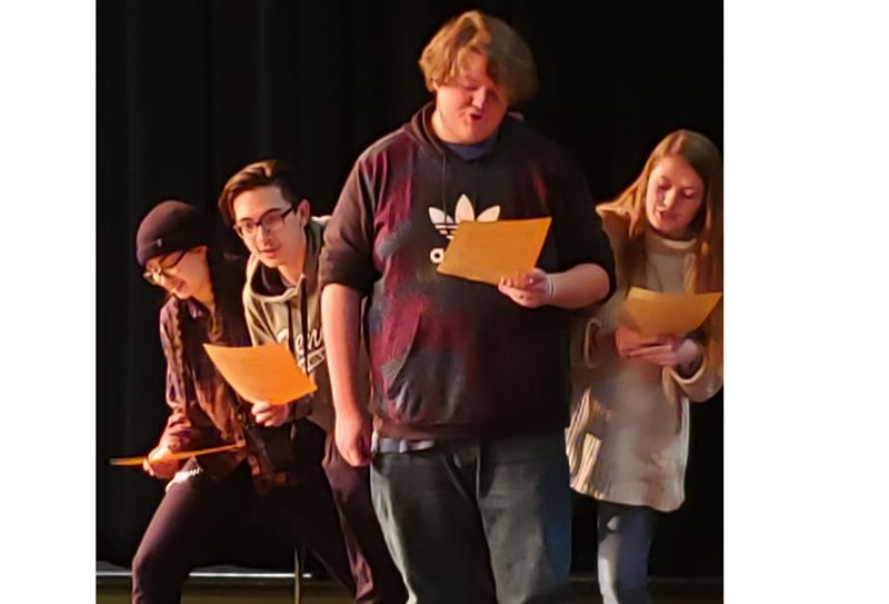 Gladstone High School students Isaiah Garcia, Austin Senn, D.J. Adolf and Sadie Klause participate in a December 2018 drama workshop with actors from the Oregon Shakespeare Festival.