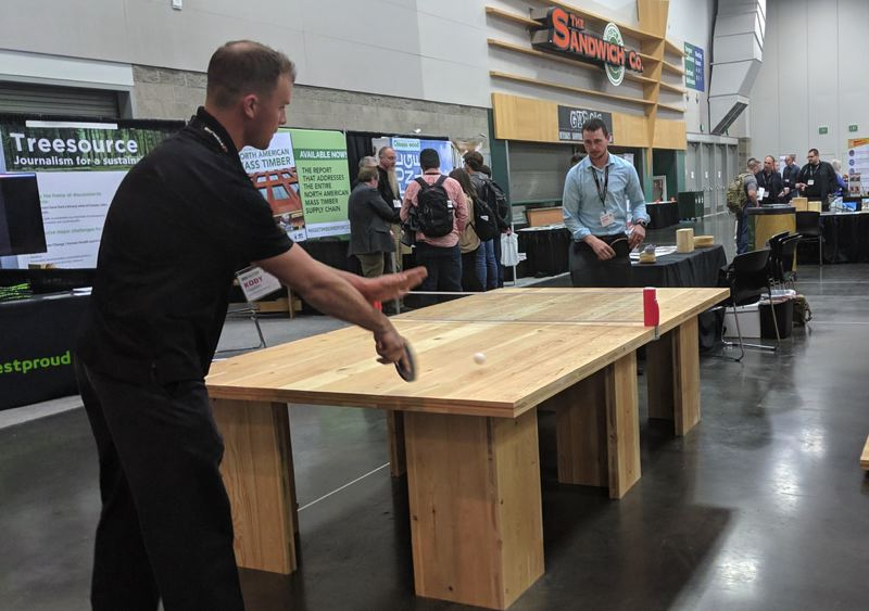 PAMPLIN MEDIA GROUP: JOSEPH GALLIVAN  - Conference attendees could play ping pong on a hefty CLT table built by SmartLam.