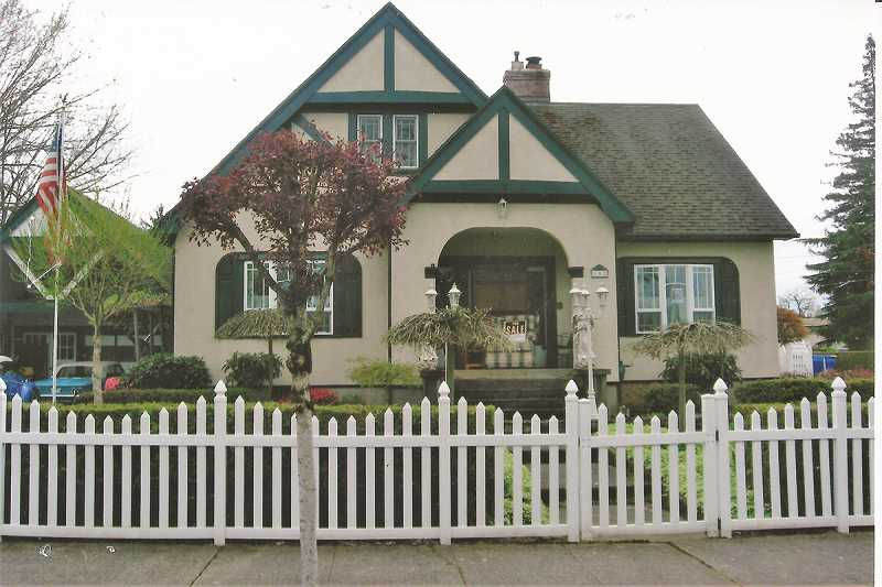 GAIL MCCORMICK - The John Frank & Bertha Fray Dicken's House is at 102 Fifth Street in Molalla, Oregon. The architecture is English Tudor Cottage Style.  The house is in excellent condition and is privately owned.  Photo from the author's collection.