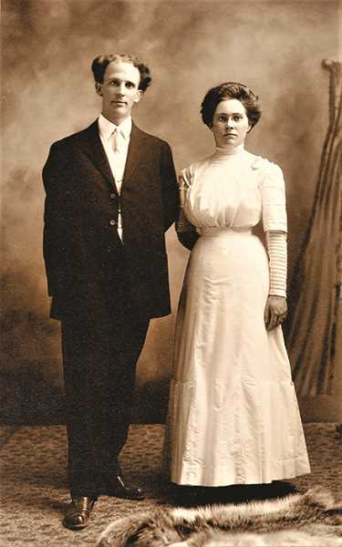 MOLALLA AREA HISTORICAL SOCIETY & BETTY GUILD - Frank and Bertha Adams Dicken on their wedding day, in 1911.  To marry Frank, Bertha rode on horseback, from Molalla to the preacher's house in Oregon City.
