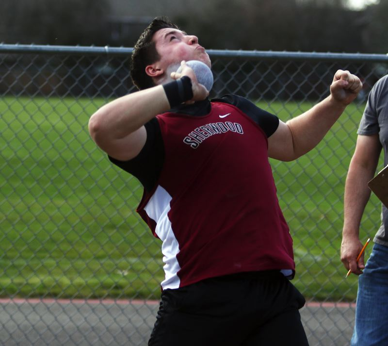 PMG PHOTO: DAN BROOD - Sherwood High School sophomore Noah Culbertson won both the shot put and discus events during the Bowmen's victory over Forest Grove.