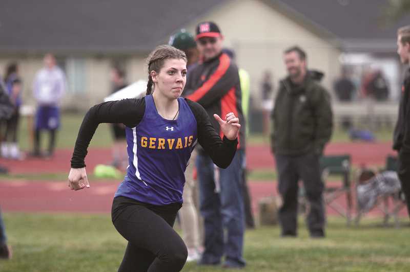 PMG PHOTO: PHIL HAWKINS - Gervais sophomore Katie Hanson had strong performances in the long jump and triple jump at Molalla High School on Thursday, adding to her already-impressive repertoire of events.