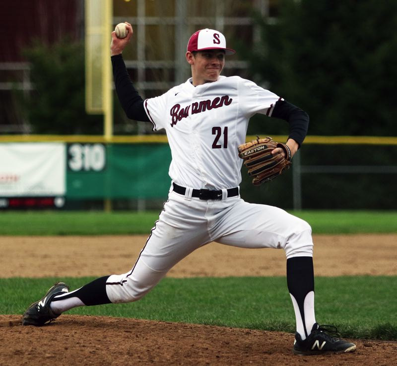 PMG FILE PHOTO: DAN BROOD - Sherwood High School senior Braden Thorn will likely move into the starting pitching rotation for the Bowmen this season.