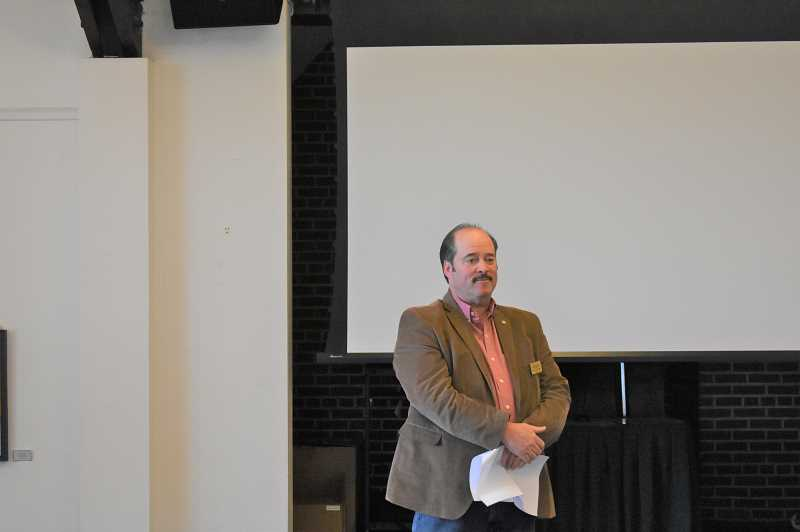 PMG PHOTO: EMILY LINDSTRAND - Estacada Mayor Sean Drinkwine spoke during a meeting of the Estacada Chamber of Commerce on Thursday, March 21.