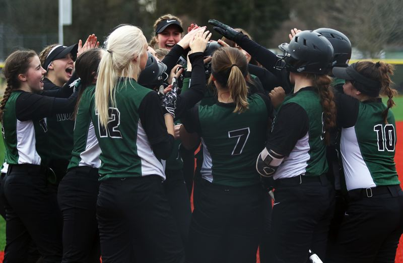 PMG PHOTO: DAN BROOD - The Tigard High School softball team hit a total of 10 home runs, four by junior Lexi Klum, while going 4-0 in spring break tournament play Monday and Tuesday.